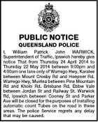 PUBLIC NOTICE QUEENSLAND POLICE I, William Patrick John WARWICK, Superintendent of Traffic, Ipswich hereby give notice That from Thursday 24 April 2014 to Thursday 22 May 2014 between 9:00pm and 4:00am one lane only of Warrego Hwy, Karalee between Mount Crosby Rd and Hoepner Rd. Warrego Hwy, Muirlea between Pine Mountain Rd and Kholo Rd. Brisbane Rd, Ebbw Vale between Jordan St and Railway St. Warwick Rd, Ipswich between Cooney St and Parker Ave will be closed for the purposes of installing automatic count Tubes on the road in these areas. The police Service regrets any delay that may be caused.
