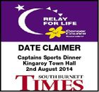 DATE CLAIMER Captains Sports Dinner Kingaroy Town Hall 2nd August 2014