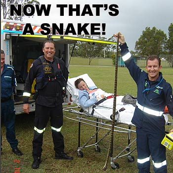 Paramedics show off the six foot long snake which was killed after it bit a woman on Moreton Island. Photo: Energex Community Rescue Helicopter.