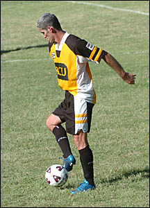 Craig Foster in action for Goonellabah in the Corey New Cup last year.
