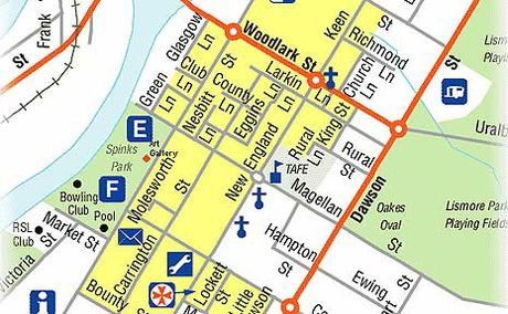 Map of the Lismore CBD.