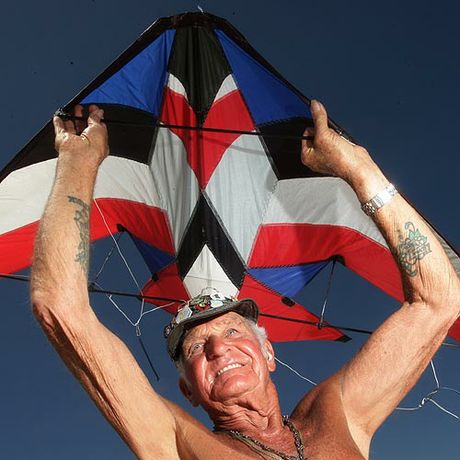 Canadian Ray Bethell proves you are never too old to fly a kite.  Photo: Cade Mooney/cm178708