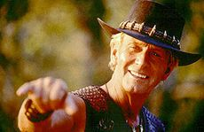 Paul Hogan in the blockbuster hit Crocodile Dundee.