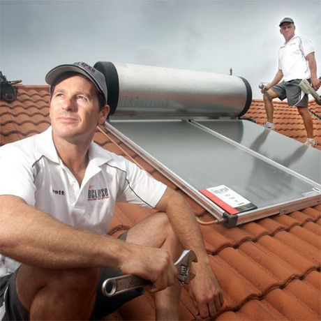 Dark Times Ahead: Brett Pearson (owner) and Gary Colvin fear for the future of solar hot-water system installers and suppliers. Photo: Cade Mooney/181556