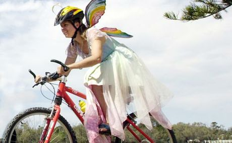 Milli O'Nair pictured ahead of Brunswick Head's 2002 Kites and Bikes festival.