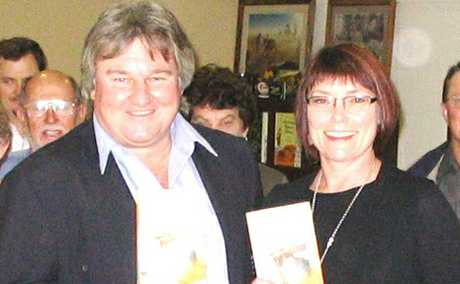 GOOD READING: Jambin farmer Geoff Maynard launched Dust, the book of his friend and former Jambin resident author Christine Bongers.