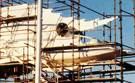 TAKING SHAPE: The Big Prawn being built by Glenn Industries in 1990. It took six months to complete at a cost of $500,000. suppied