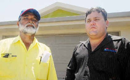 Lawrence Ramsamy, left, and builder Peter Thorne believe more should be done to stop youths vandalising building sites.