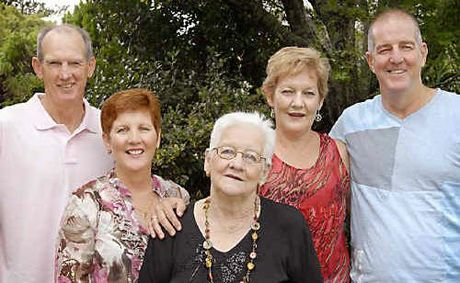 Enjoying a family gathering at Weis Restaurant in Toowoomba yesterday are Patsy Bennett (centre) with her children (from left) Wayne Bennett, Greta Blom, Michelle Rock and Bob Bennett.