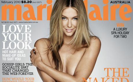 "The February cover of Marie Claire magazine shows Jennifer Hawkins naked and ""untouched""."