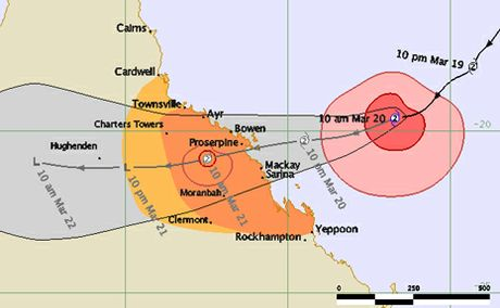Cyclone Ului is expected to reach landfall tomorrow morning. Image courtesy of Bureau of Meterology.