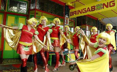 Bringabong manager Dionne May (front) with the Bringabong Babes during a dress rehearsal before this weekend's Nimbin MardiGrass law reform rally.