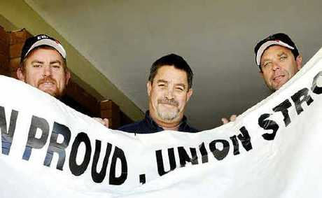 Union members (from left) Shaun Burn, Chris McGaw and Russell Betheras.