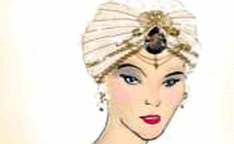 An illustration of the $3 million turban Elizabeth Taylor will wear to her ninth wedding.