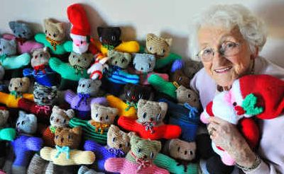 Care bears: Audrey Patterson has knitted a tribe of teddies for the children's hospital.