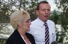 Tony Abbott with LNP candidate for Capricornia Michelle Landry on Quay Street, by the the Fitzroy River in Rockhampton