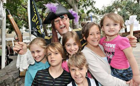 Pirate Errol RJ Morrison with Sarah Tonkin, Braden Andrews, Emily Tonkins, Patrick Skinner, Annabel Skinner and Tess Andrews.