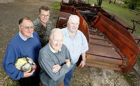 Former Box Flat Colliery workers (clockwise from back) John Strybos, Pat Lenihan, John Lambert and Merv Currie are looking forward to the reunion.