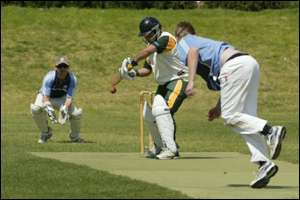 Mount Maunganui batsman Jason Luke tries to cut one past Te Puke keeper Tim Clarke to the ball in their club cricket match at Blake Park. Photo: Chris Callinan.