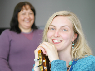 MUSIC THERAPISTS ALISON COOPER, LEFT, AND MARIE BAGLEY. PHOTO: KELLIE BLIZARD