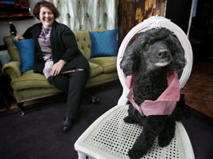 TALLULAH STAR POODLE AND HER OWNER DANIELLA NORING