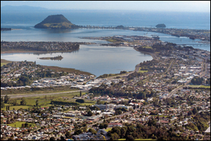 Aerial view of Tauranga , looking towards Mount Maunganui. Photo: File.