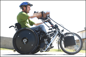 Neil Cudby plays wheelchair rugby and hand-cycles. Photo: John Borren.