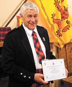 FLOWER of Scotland – John Campbell was honoured to receive life membership of the Stratford and District Scottish Society recently.
