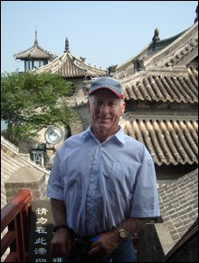 Aquasplash chairman Harvey Bryant takes time out at the historic Penglai Pavillion in Yantai.