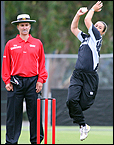 NZ umpire Billy Bowden watches White Ferns bowler Abby Burrows. Picture/John Stone