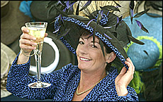 Northland horse trainer Donna Logan wearing her `at home' Melbourne Cup hat. Picture/Michael Cunningham