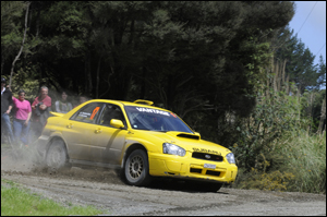 Tauranga's Ben Thomasen/Rachel Pittams (Subaru Impreza STI) in action during the Rally of the North last Saturday. Photo: Geoff Ridder