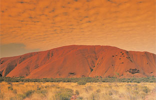Uluru at sunset, Australia's most famous lump of rock.