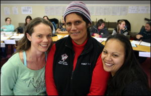 CHILD PROTECTION: Pictured from left, Jennifer Taylor, of Tuwharetoa Health Services, Petrina Campbell of Ruakawa Trust and Te Puawaitanga Kohanga Reo teacher Anne Tamati are learning how to spot earl