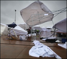 PICTURE: JOHN BORREN: The National Kapa Haka Festival was hit hard by the strong winds that knocked tents and fences over.