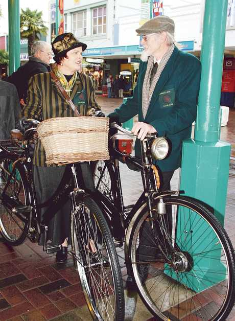 Judy and Colin Barnes, from Haumoana, gave their vintage bicycles an airing during Saturday's Dress and Process.
