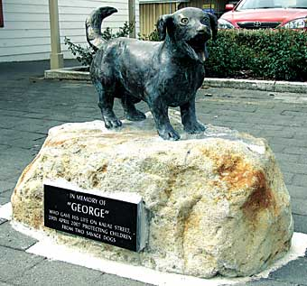 George has been immortalised in bronze in Manaia.