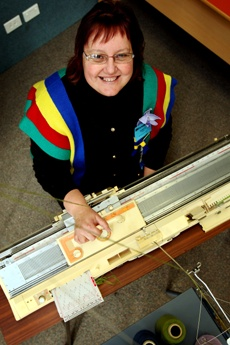 PICTURE: CLAIRE DE BARR: Robyn Parker, machine knitter and organiser of the event, held in Tauranga this week.