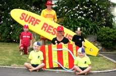 PICTURE: MARK McKEOWN: Surf lifesaving club members take their message to the schools.