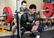 PICTURE: MARK McKEOWN: Ming Ming Edgar, who is blind, competes in the squat of the sub-juniors section.