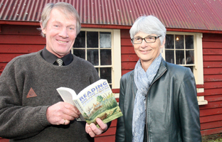 FRESH READING: Victoria University professor Lydia Wevers (right) who launched her book about the Brancepeth Station library, with Edward Beetham outside the building that housed the workers' library.