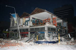 Damage after the magnitude 7.1 earthquake in Christchurch on Saturday. Photo by NZPA.