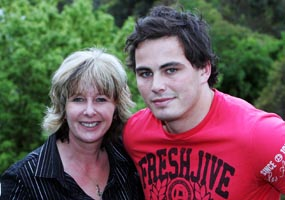 Zac Guildford with his mother Debbie, who isn't afraid to ring up Graham Henry and tell him what she thinks.