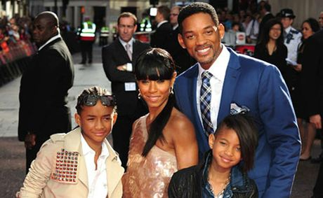 The Smiths (from left) Jaden, mother Jada, Will and daughter Willow.