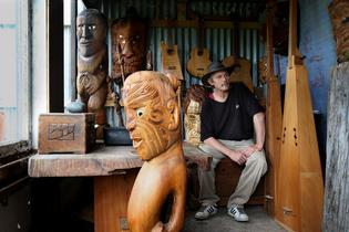 "John Williams says creating the carved pou was ""a privilege"". Photo: John Borren."