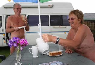 Colin Basire and his partner Glenne Findon are enjoying their &#39;nakation&#39;.