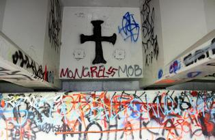 Mongrel Mob graffiti under a bridge in Wairoa.