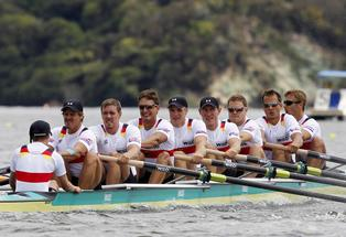The German mens rowing team of eight. AP Photo/NZPA, Wayne Drought