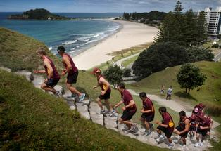 The Northern Knights cricket team ran to the summit of Mauao as part of 4 day training camp in Tauranga. Photo: John Borren.