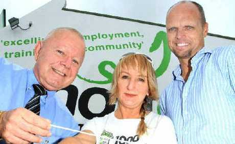 Tony Radanovic, Michelle Dowding and Scott Wilson celebrate helping out 1200 jobseekers.